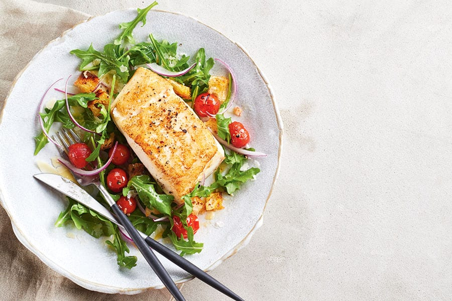 Buttery Halibut with Balsamic Cherry Tomatoes and Arugula Salad | Canadian Living