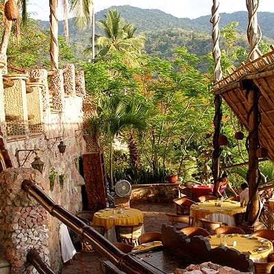 Peer into the lush rainforest from the edge of a cliff, at Le Kliff