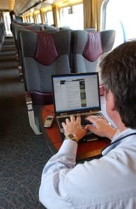 Wireless trains are the only way to go when work calls. (Photo: Courtesy Via Rail)