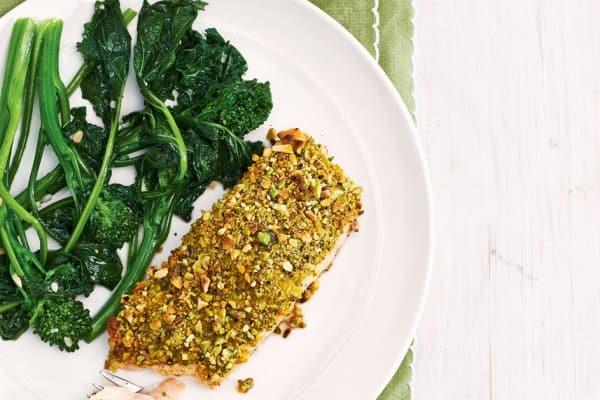 Pistachio-crusted salmon with garlic rapini