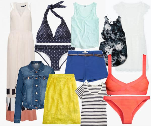 Packing for a beach vacation, clothing