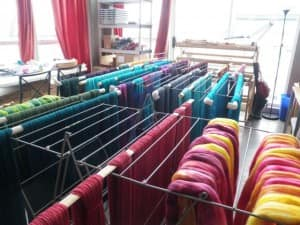 Yarn and fibre drying in the studio