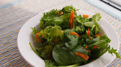 Spicy Greens with Maple Soy Vinaigrette -- peppery and sweet.