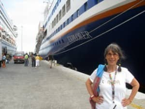Evelyn about to board the MV Explorer: her home for 180 days (Courtesy: Journey Woman)