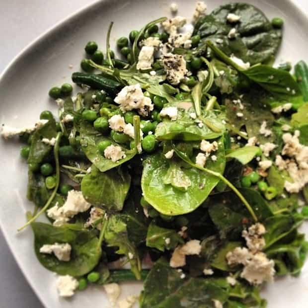 Greens, peas and cheese salad