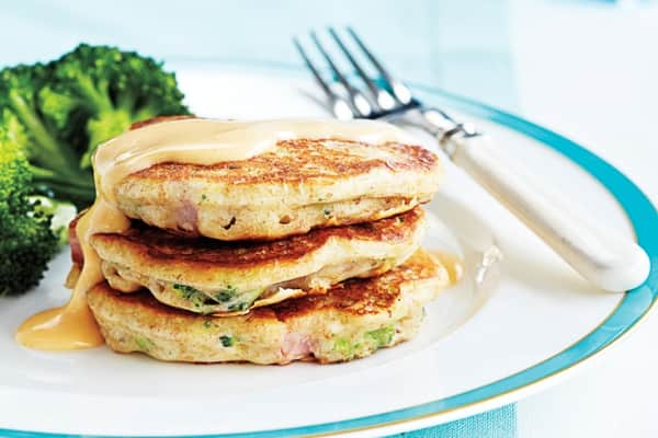8 savoury brunch recipes - Broccoli and Ham Cakes with Cheese Sauce