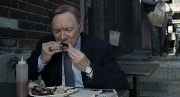 Frank eats ribs on House of Cards