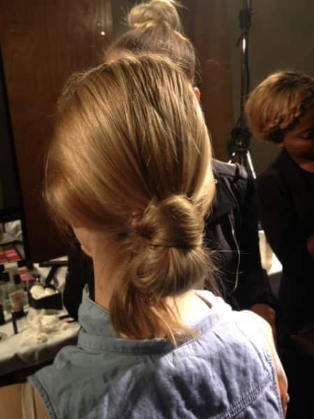 Hair for Erdem fashion show, a low knot