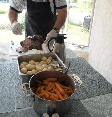 Carving the roast beef for lunch