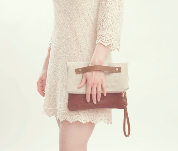 Grace Design taupe clutch, $81, etsy.com/ca/shop/gracedesgn