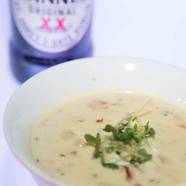 Seafood chowder with beer