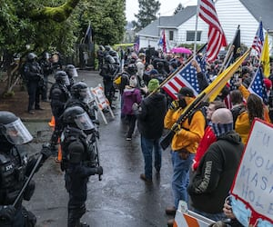 US-PROTESTORS-RALLY-AT-OREGON-GOVERNOR'S-MANSION-IN-SALEM