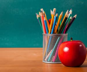 Teacher, desk, apple.