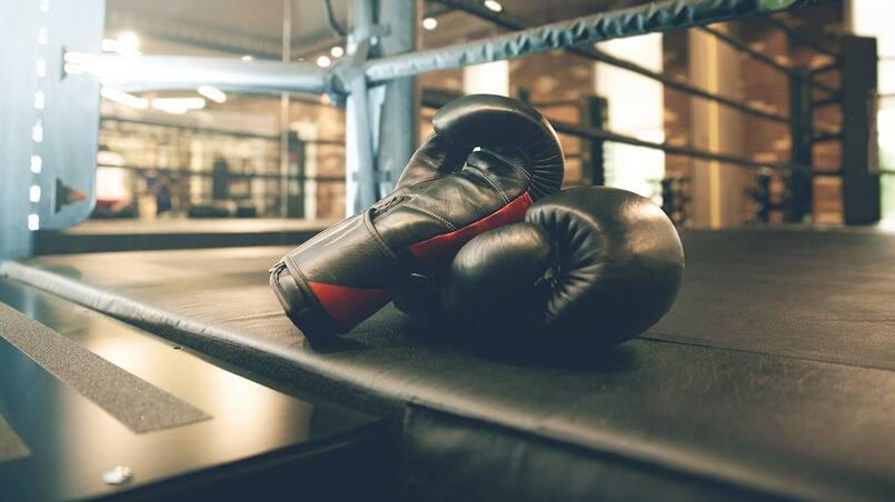 Bloc boxe combat gants gant boxing gloves in ring