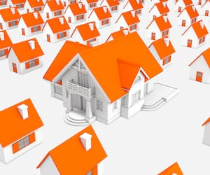 3d illustration of houses with a big house in the middle