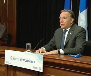 Le premier ministre du Québec, François Legault, en point de presse mercredi à l'Assemblée nationale.