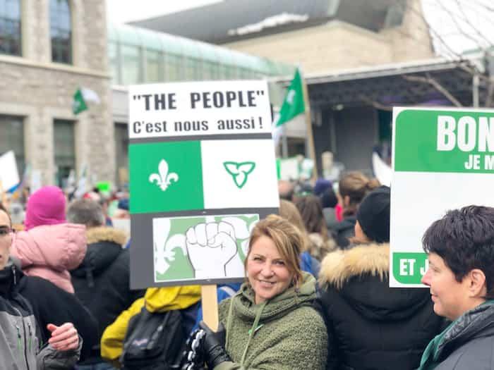 Des manifestants avaient défilé dans les rues d'Ottawa pour  faire valoir les droits des Franco-Ontariens en décembre 2018.