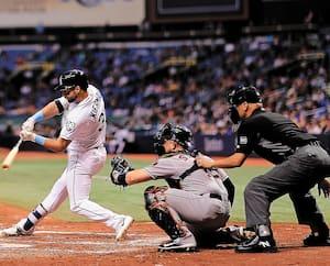Un match des Rays contre les Astros de Houston, au Tropicana Field de St.Petersburg, en 2018.