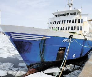 Le navire désuet acheté d'urgence et sans inspection pour plus de 3,5M$ d'argent public sera finalement coulé au fond du Saint-Laurent afin de servir de récif artificiel pour la plongée sous-marine, au large de la Côte-Nord. On le voit ici en avril dernier, à Québec.