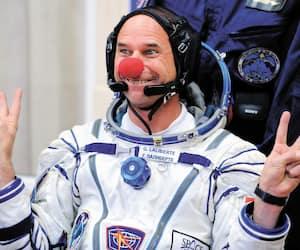 Le cofondateur du Cirque du Soleil, Guy Laliberté, le 30 septembre 2009, quelques heures avant le début de son périple vers la Station spatiale internationale.