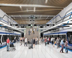 Représentation de la future station de tramway de Québec Desjardins/ULaval.