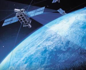 On voit ici une image d'un satellite de NorthStar dans l'espace qui doit servir à repérer les débris orbitaux et à observer la Terre.