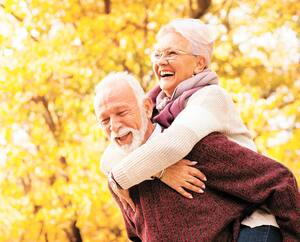 Portrait of laughing senior couple