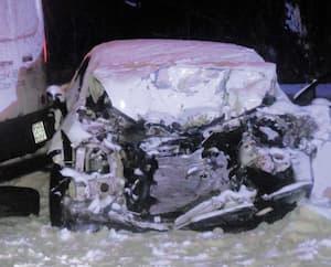 Le véhicule de la victime a subi d'importants dommages.
