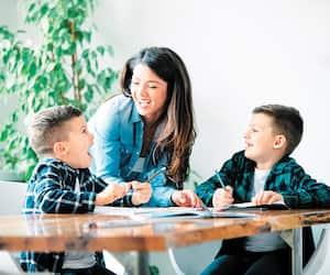 homework teaching education mother children son familiy childhood