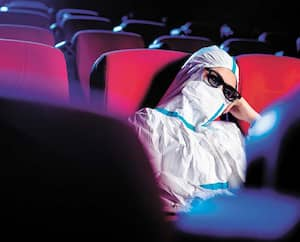 sick person cinema mask watch movie public virus