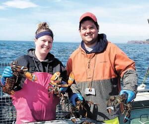 Malgré une ressource abondante, la saison de la pêche aux homards sera difficile cette année en raison de la baisse des prix à quai. Sur la photo, le capitaine Maxime Lelièvre et sa conjointe, Magalie Moreau, de Grande-Rivière, espèrent quand même terminer la saison.