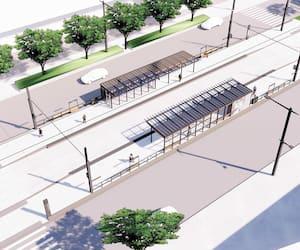 Voici ce que la Ville de Québec a prévu pour la future station du tramway au CHUL, sur le boulevard Laurier à Sainte-Foy. Il n'y aura pas de passerelle aérienne pour les piétons ni de tunnel.