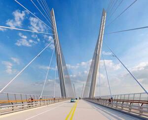 Le consortium Groupement Origine Orléans, auteur de la proposition lauréate, promet pour le futur pont de l'Île-d'Orléans «un pont de calibre international», qui offrira des «perspectives inédites» de l'île d'Orléans, de la ville de Québec et de la chute Montmorency. Sa structure haubanée sera aussi mise en lumière la nuit.