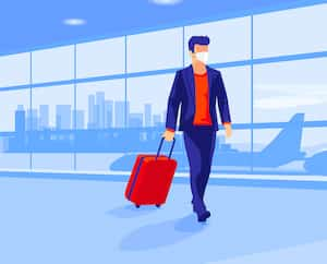 Lonely business man traveler wearing face mask with luggage walking at empty airport gate terminal lounge traveling during pandemic outbreak. Airplanes behind glass window with city skyline sunset.