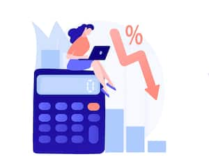 Company profit and loss flat icons set. Investment taxation. Calculating loss, calculating net income, international and non-resident taxes metaphors. Vector isolated concept metaphor illustrations