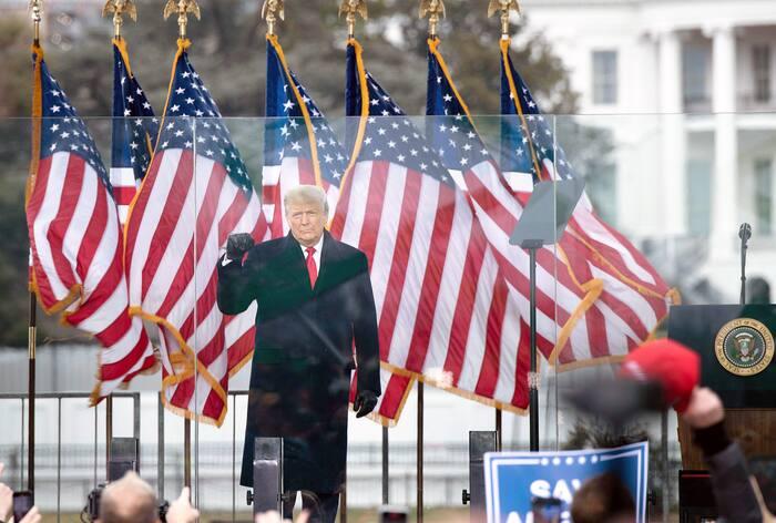 Le président sortant Donald Trump lors du discours qu'il a prononcé  devant le Capitole mercredi dernier.