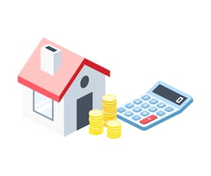Mortgage home money calculator isometric illustrate 3d vector icon. Creative design idea.