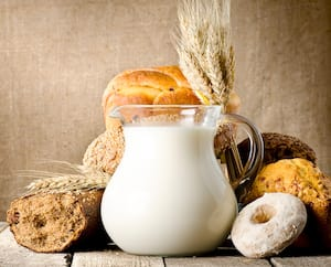 Milk and bread on canvas