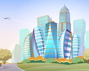Cityscape vector cartoon background