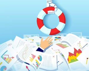 Vector of a robot hand with a lifebuoy stretching a lifeline helping drowning in a pile of papers business man