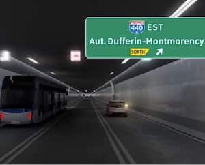 Une vue de l'intérieur du projet de tunnel entre Québec et Lévis. Le gouvernement prévoit interdire le transport lourd aux heures de pointe.