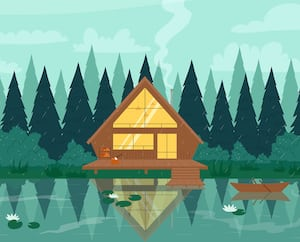 Fisherman modern wooden stilt house in forest, mountain landscape, water of lake or river