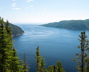 Vue spectaculaire de l'embouchure du fjord du Saguenay à partir des hauteurs de Sacré-Cœur.