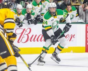 Logan Mailloux, du temps qu'il jouait pour les Knights de London dans la Ligue de hockey junior de l'Ontario.