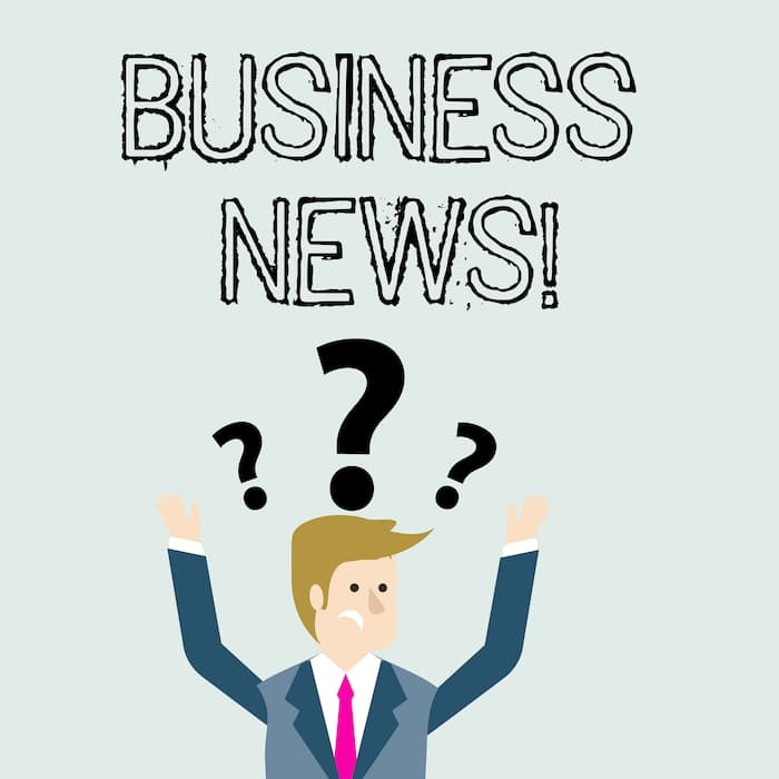 Handwriting text Business News. Concept meaning information reported in a newspaper or news magazine Confused Businessman Raising Both Arms with Question Marks Above his Head.