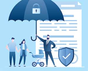 Paper contract and security shield. Health Care with Insurance concept background