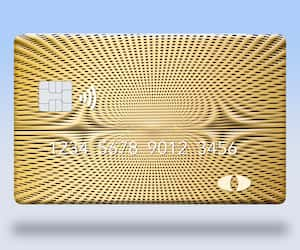 Here is a blank credit or debit card with room for your text. It is colorful with a geometric design and is isolated on a white background. It includes. an EMV chip, generic logo, numbers and NFC icon