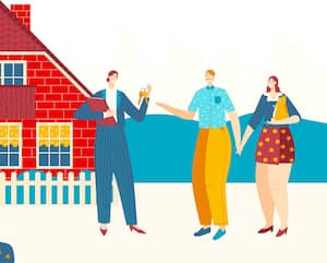 Lovely couple buy first house, chacarter female, male purchase home, family people, flat vector illustration. Real estate agent sell cottage.