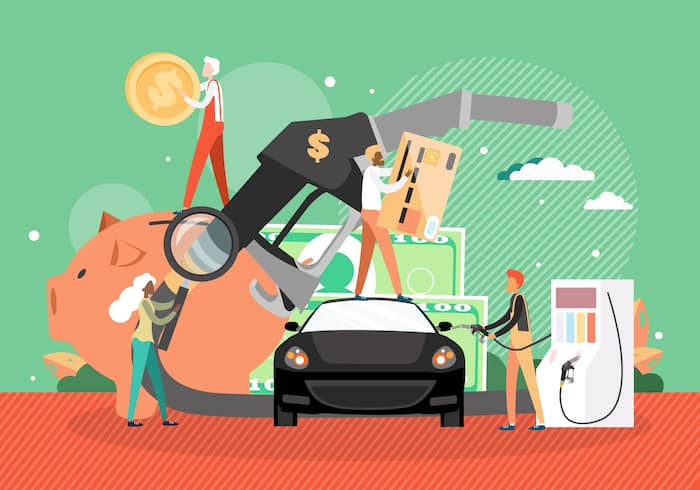 Car refueling at petroleum station. Fuel petrol gas filling station, gasoline pump hose, people, vector illustration.