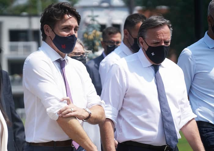 Les premiers ministres Justin Trudeau et François Legault